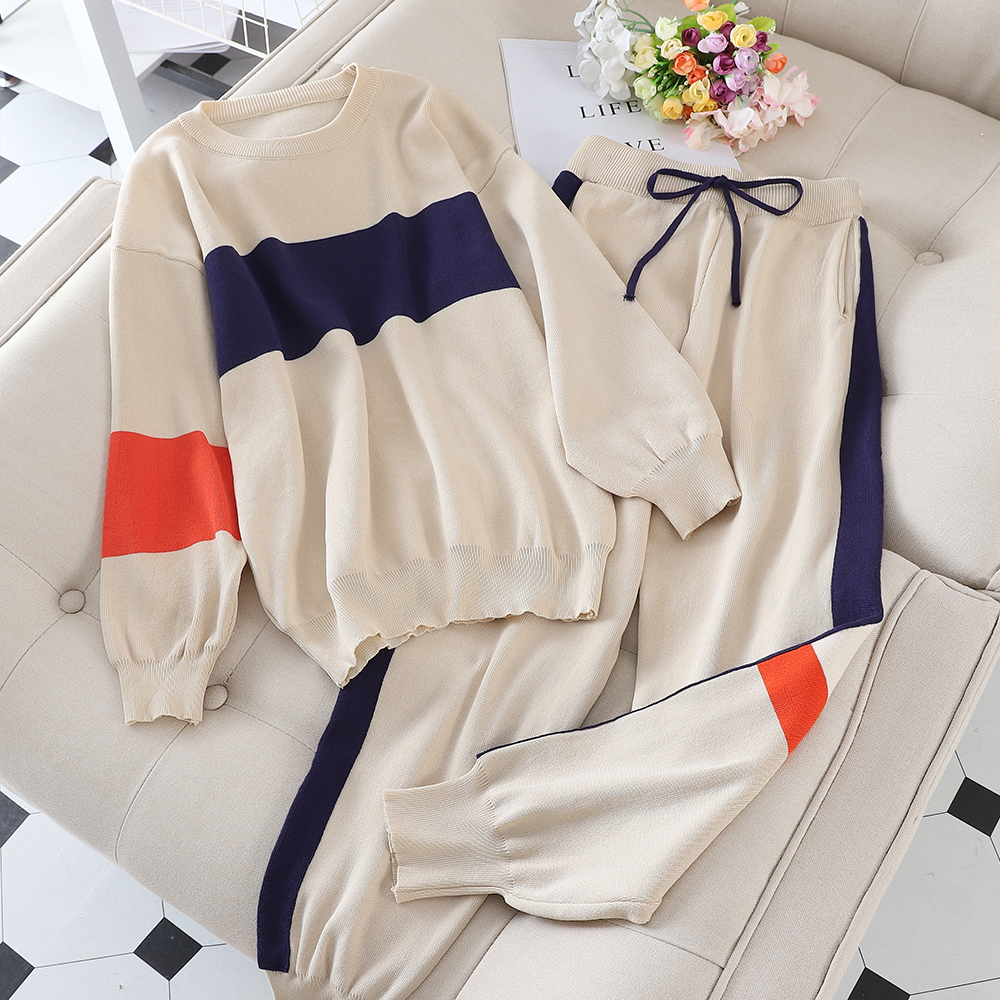 Casual Sports Suit Female 2019 New Korean Version Of The Loose Autumn Fashion Foreign Long-sleeved Knitted Two-piece