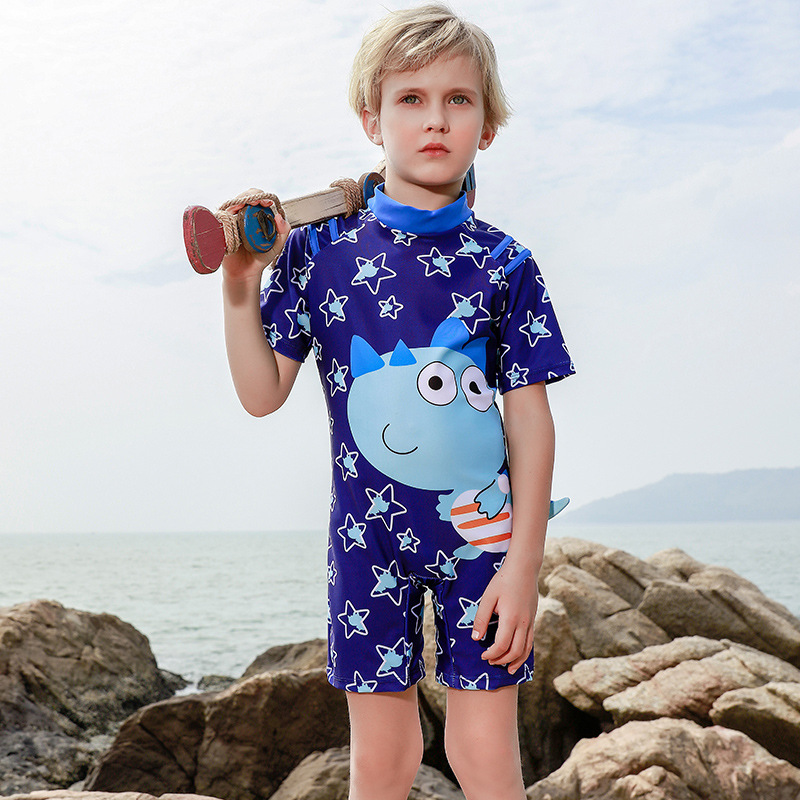 2019 New Style Hot Sales KID'S Swimwear Short Sleeve Shorts One-piece Ultra-stretch Quick-Dry Cartoon Dinosaur Star BOY'S Swimsu