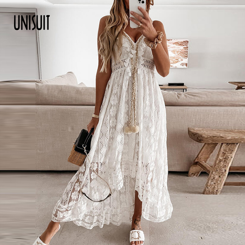 Summer Sleeveless Lace Long Dress Women V Neck Solid Lady Dress Vintage Elegant Off Shoulder Hollow Out Mesh Loose Maxi Dresses