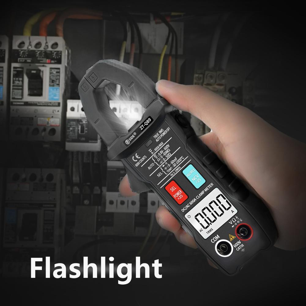 home improvement : DC AC 600A Digital Clamp Meter BSIDE ZT-QB9 T-RMS Smart pliers Current Ammeter Auto Rang Multimeter Capacitor Voltage NCV Tester
