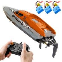 30km/h de alta velocidade que compete o barco do rc com 370 do motor ipv7 waterproof 2.4ghz 4 canais brinquedos do barco de controle remoto para crianças três bateria