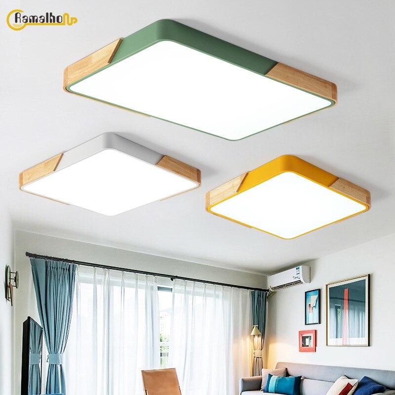 Ультратонкая светодиодная потолочная лампа из твердой древесины в скандинавском стиле для гостиной, столовой, светильник для спальни