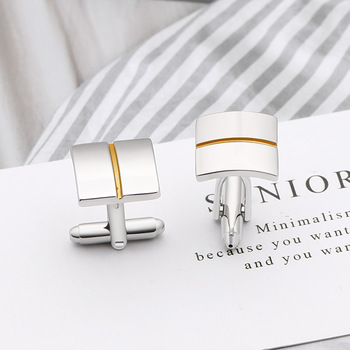 High-quality Simple Square Golden Lines Cufflinks 5