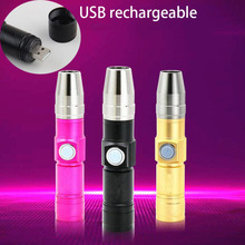 Rechargeable Usb 365nm Led UV Flashlight flash Torch Black Light Ultraviolet lamp Blacklight Fluorescent Lamp Money detection