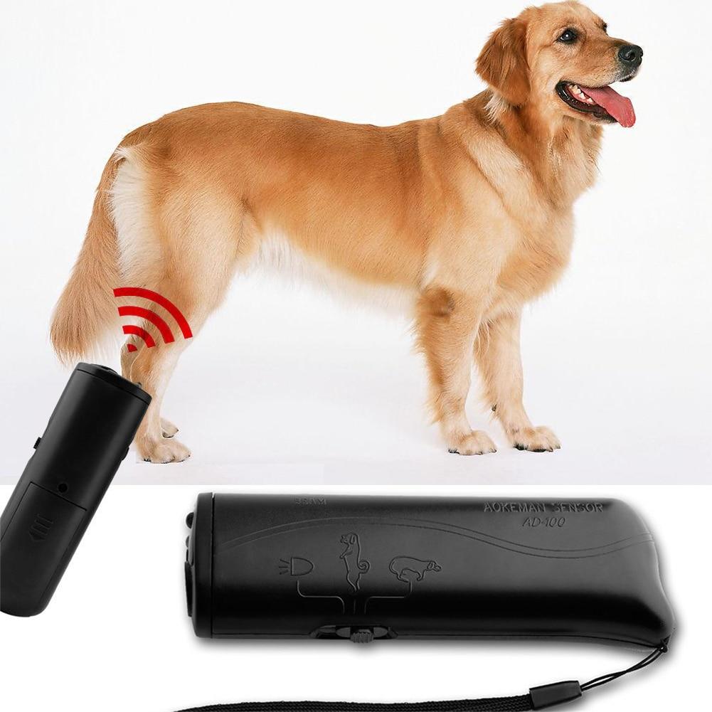 Hot Ultrasonic Aggressive Dog Pet Repeller Trainer Aid Stop Banish LED Flashlight