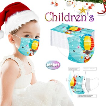 10/30/50/100/PCS Children's Christmas mask Disposable Face Masks Santa Printed Blue Mouth Mask Industrial 3Ply Earloop Mask #17 image