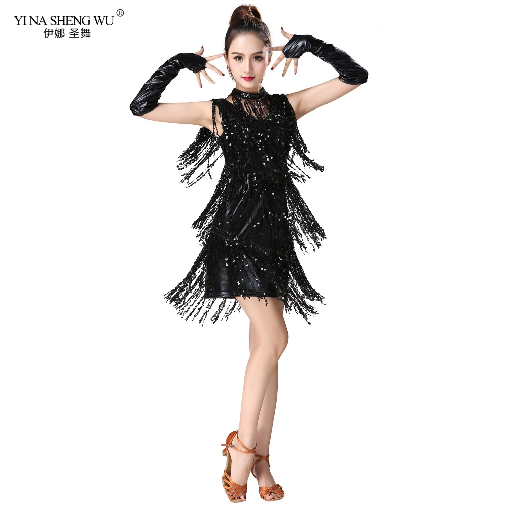 Sequin Fringed Latin Dance Clothes Women Latin Dance Stage Performance Competition Dress Salsa Dance Costume With Glove Necklace