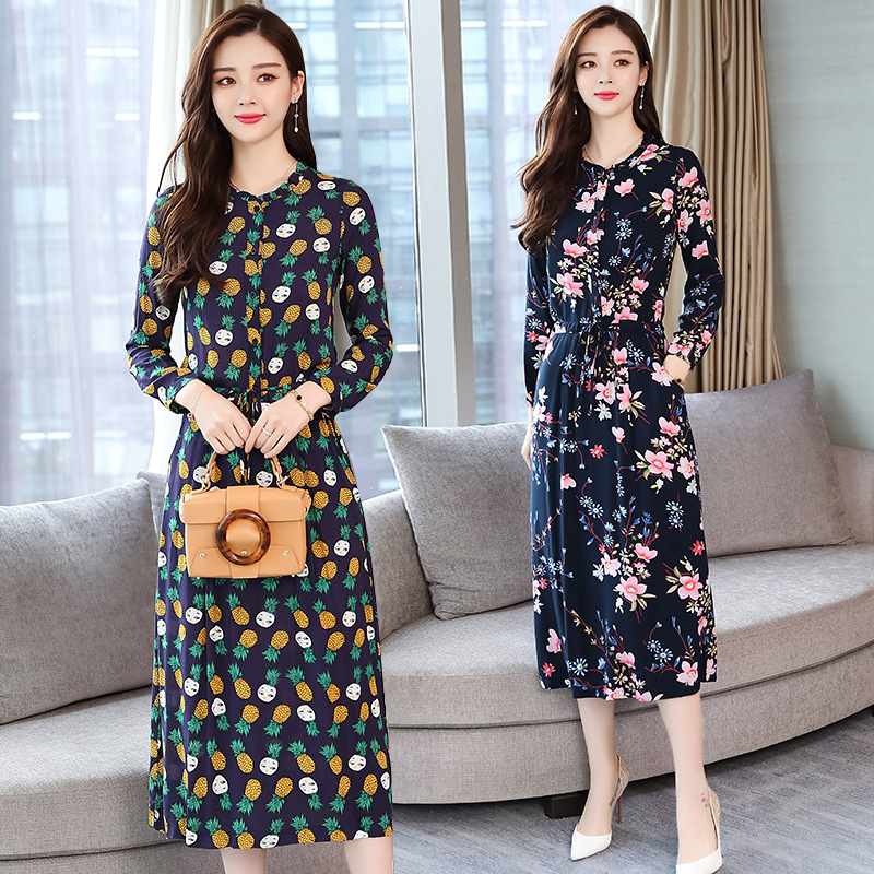 Photo Shoot Autumn Clothing New Style Korean-style Slim Fit Mid-length Small Floral Skirt-Style Printed Long-sleeved Dress Women