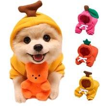Теплая зимняя одежда для собак милое пальто с фруктами толстовки