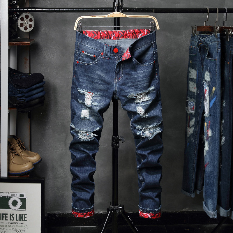 With Holes Jeans Men's Autumn Men'S Wear Patch Beggar Porous Pants Autumn And Winter Straight Slim Trousers Fashion Jd109