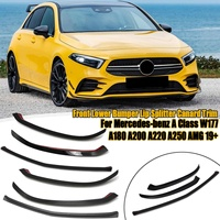 Front Lower Bumper Lip Splitter Canard Trim For Mercedes benz A Class W177 A180 A200 A220 A250 for AMG 2019 2020+ Car styling|Styling Mouldings|   -