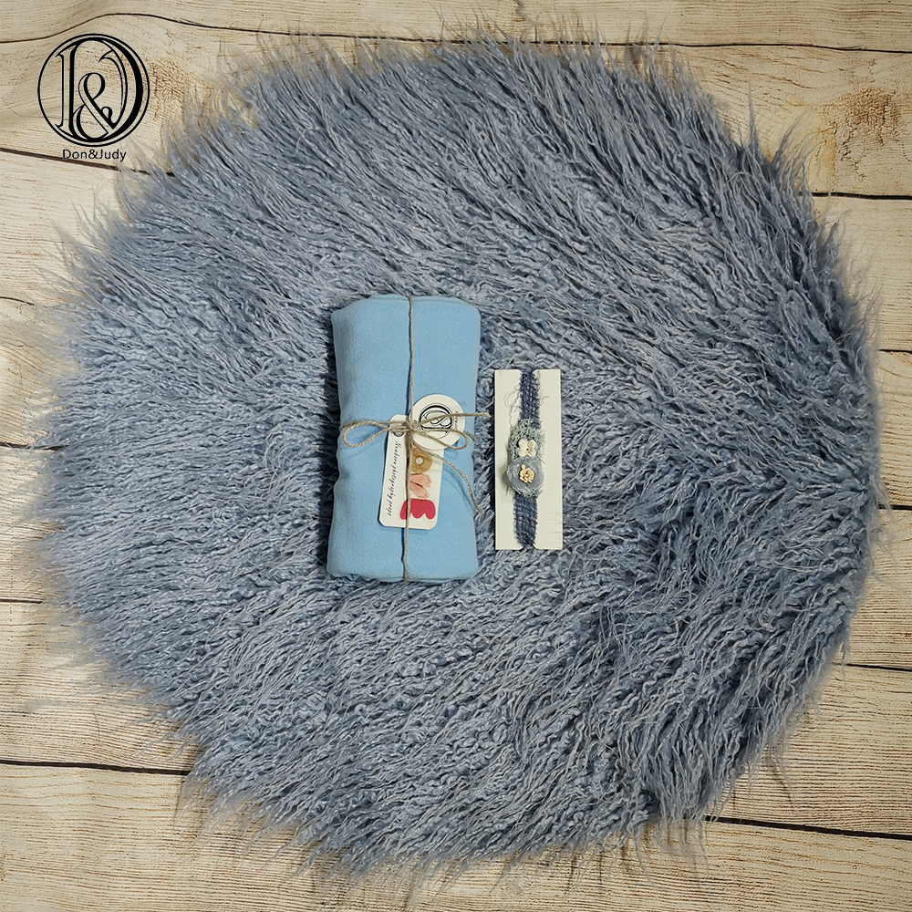 Don&Judy Newborn Fur Blanket With Matched Wrap And Headband 3pcs/set Newborn Photo Props Photography Accessories Fotografia