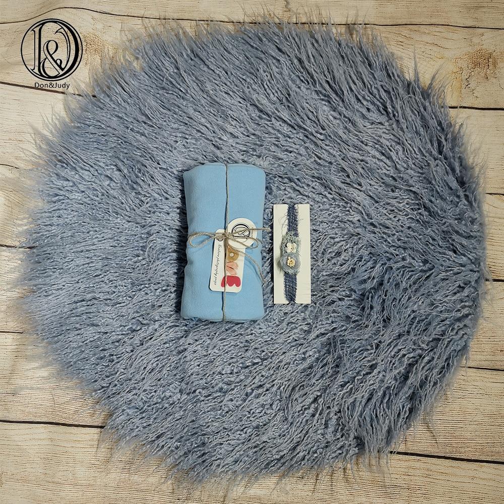 Don&Judy Newborn Fur Blanket With Matched Wrap And Headband 3pcs/set Newborn Photo Props Photography Accessories Fotografia