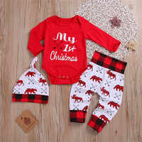CANIS casual New Baby Boy Girl Newborn First Christmas printed Clothes Romper Trousers Hat Outfit Set