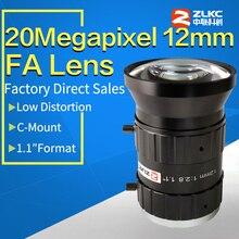 """20 메가 픽셀 12mm 1.1 """"f2.8 its/fa 저 왜곡 렌즈 고정 초점 거리 c 마운트 산업용 카메라 수동 조리개 cctv 렌즈"""