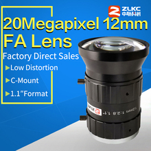 20Mega pixels, 12mm 1.1 pouces F2.8 ITS/FA lentille à faible distorsion, focale fixe, c mount, caméra industrielle, Iris manuelle de vidéosurveillance