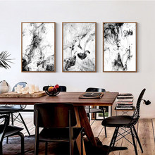 Modular Wall Art Canvas Painting Nordic Abstract Ink Chinese Black White Pictures Prints Poster Home Decor For Living Room Frame(China)