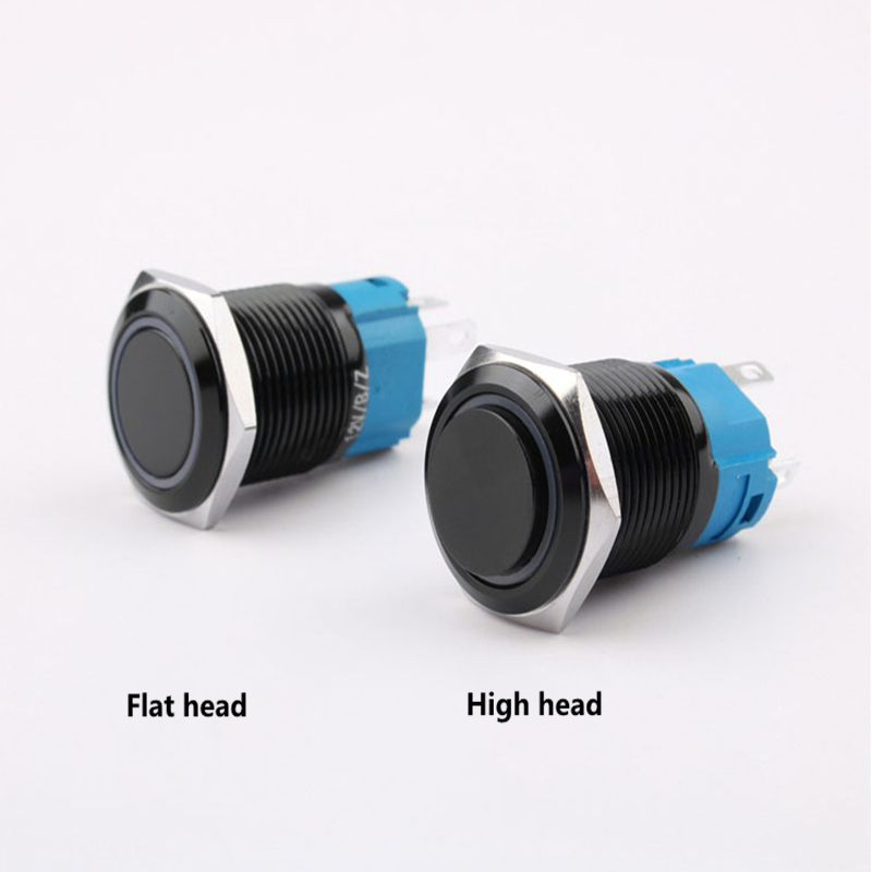 16mm Metal Push Button Waterproof Black Switch With Light Momentary Latching Locking Car Auto Lock Reset High/flat Head 3v5v6v12