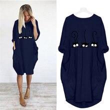 Женское винтажное платье средней длины, свободное Повседневное платье с принтом милого кота и карманами, вечерние платья большого размера, 2020