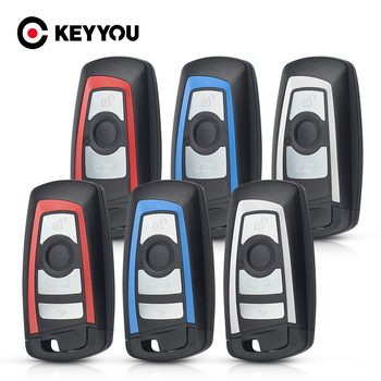 KEYYOU Smart Remote Car Key Shell For BMW CAS4 F 3 5 7 Series E90 E92 E93 X5 F10 F20 F30 F40 Fob 3/4 Button Key Case Blank Cover image
