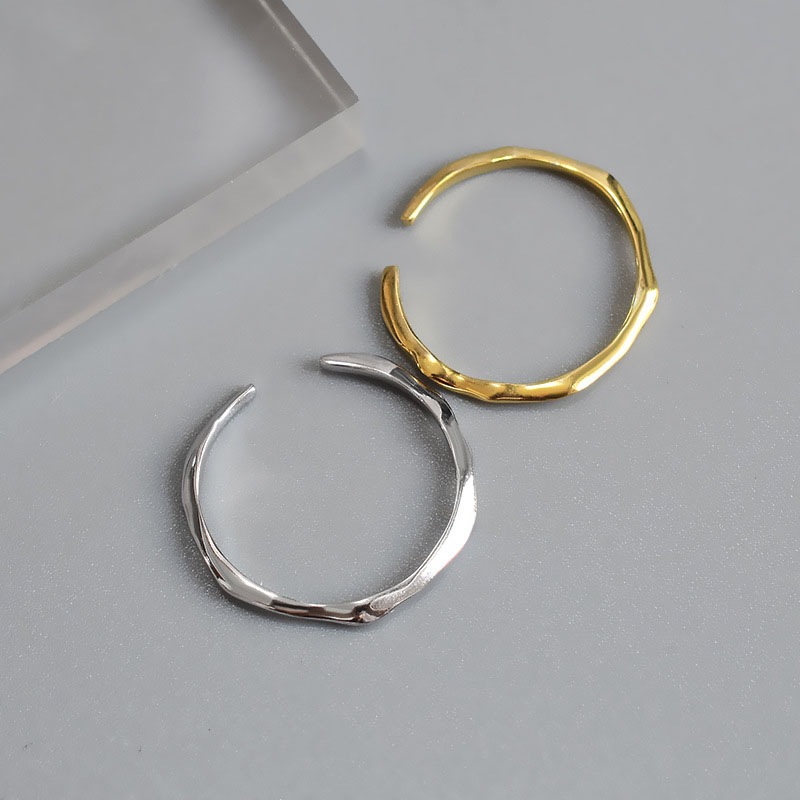 Silvology 925 Sterling Silver Thin Line Tail Ring Elegant Minimalist Collocation Open Rings For Women Irregular Simple Jewelry