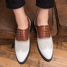 HAROGATH Brand Quality Bullock Carving Men Oxfords Pointed Toe Brogues Business Dress Mens Formal Shoes Sapatos Masculino Social