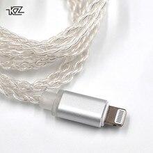 KZหูฟังLightningอัพเกรดSilver PlatedสำหรับiPhoneสำหรับZST ZS10 ES3 ES4 AS10 BA10 ZS6 ZS5 ZS4 ED16 MMCX Pin