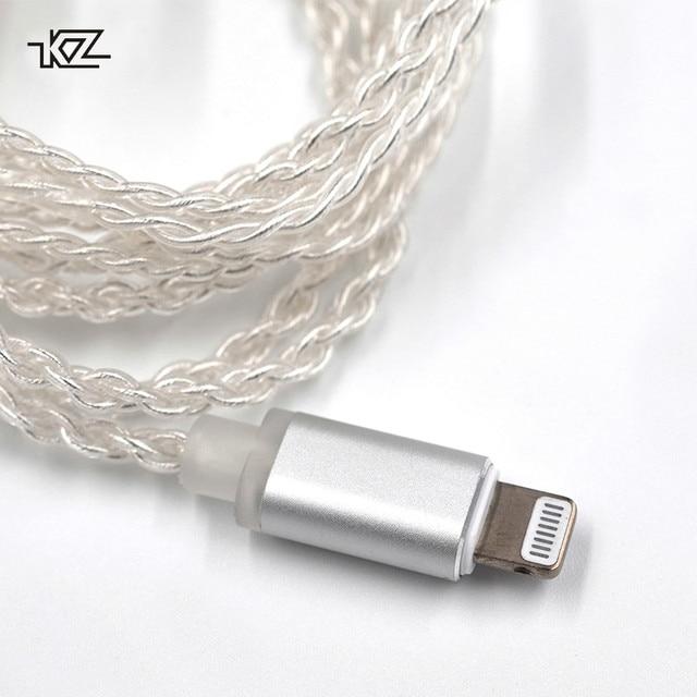 Kzイヤホン雷銀メッキアップグレードケーブルiphone用zst ZS10 ES3 ES4 AS10 BA10 ZS6 ZS5 ZS4 ED16 mmcxピン