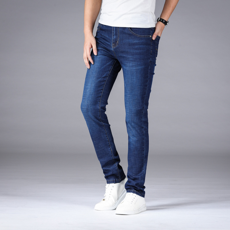 Youth Elasticity Jeans Men's 2019 Summer Thin Section Men Straight-Cut MEN'S Casual Trousers Men'S Wear Recruit
