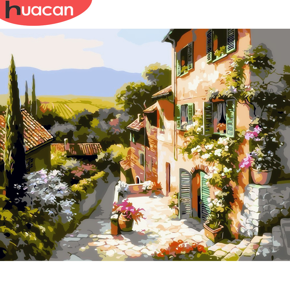 HUACAN Oil Painting By Numbers House Scenery Kits Pictures By Numbers Home Decor Drawing Canvas HandPainted DIY Landscape