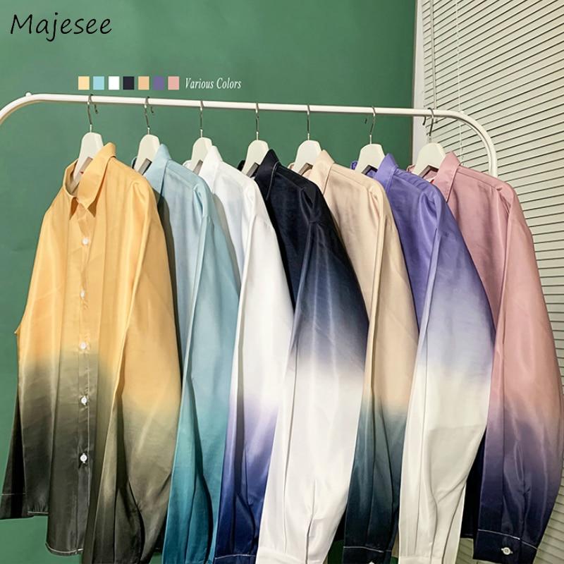 Men Shirts Long Sleeve Gradient Leisure Large Size 2XL Loose Oversize Mens Korean Style Unisex Couples Harajuku Outwear Shirt BF