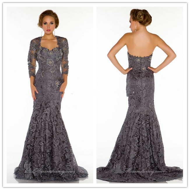 2018 New Lace Beaded Mermaid Evening Prom Gown With Jacket Long Sleeve Party Formal Vestido De Festa Mother Of The Bride Dresses