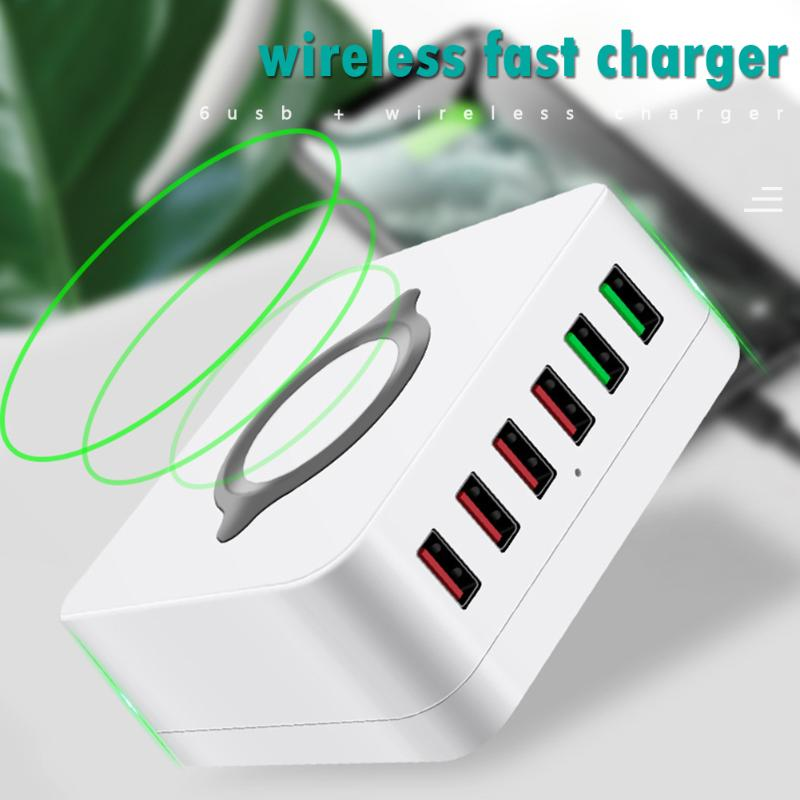 High-quality 7 in 1 Chargers 4 Ports USB Smart Socket Dual Charging Wireless Charger Office Supplies for Smartphone Tablets