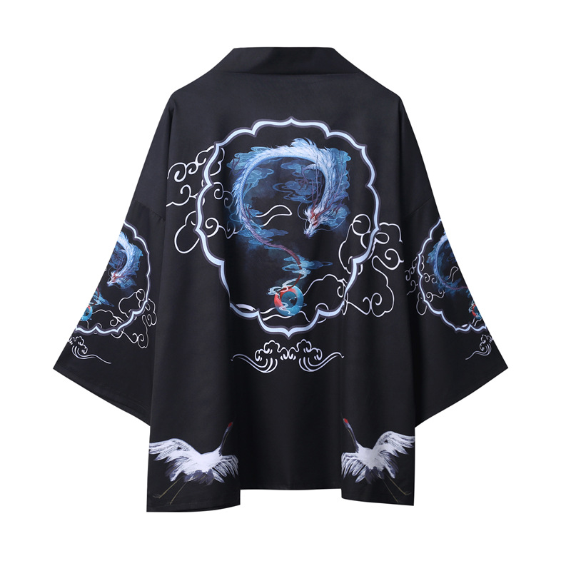 Yukata Haori Japanese Dragon Kimono Cardigan Men Samurai Costume Asian Clothes Kimonos Jacket Mens Shirt Yukata Haori