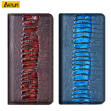 Genuine Leather Phone Case For Xiaomi Mi Note 10 Lite Poco M3 X3 NFC F1 F2 Pro Redmi 9 9A 9C NFC K20 K30 Pro S2 Go Ostrich Cover