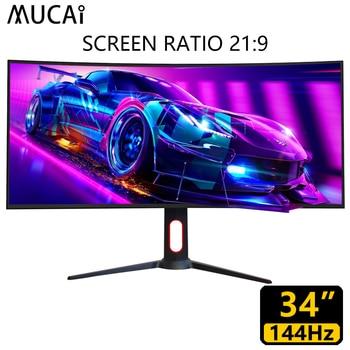 MUCAI 34 pulgadas PC 144 Monitor Hz 2K HD juego de ordenador pantalla Lcd jugador superficie curvada 21:9 Super larga pantalla 3440*1440