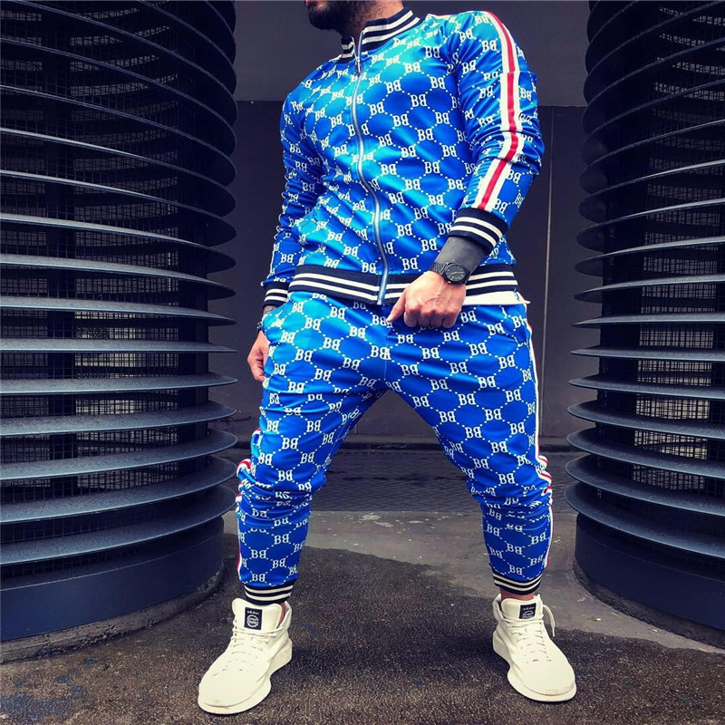 New 3D Colorful Plaid Men Sport Zipper Suit Autumn Tracksuit Set Male Sweatshirt Running Jackets Men Tracksuit Sets Gym Mens Set