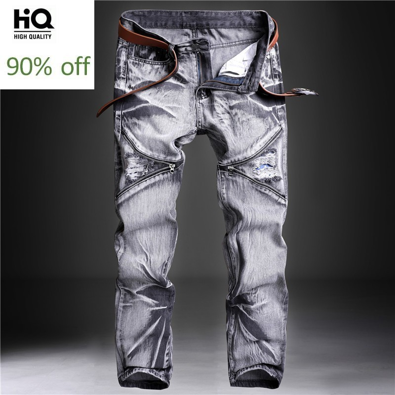 Fashion New Casual Thigh Zipper Mens Straight Jeans Pants Full Length Moto Biker Plus Size 30-42 Male Denim Troousers Streetwear