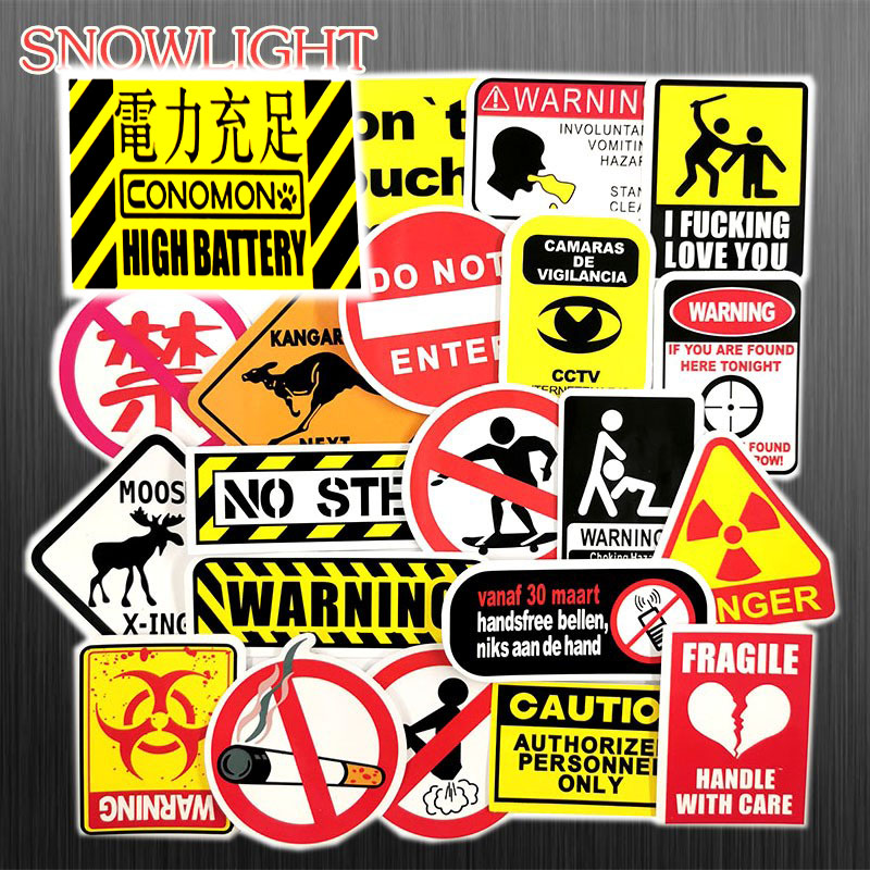 Hot 50 Pcs/Set Graffiti Sign Stickers Warning And Logo For Luggage Laptop Toy Phone Car Notebook PVC Waterproof Cool Sticke
