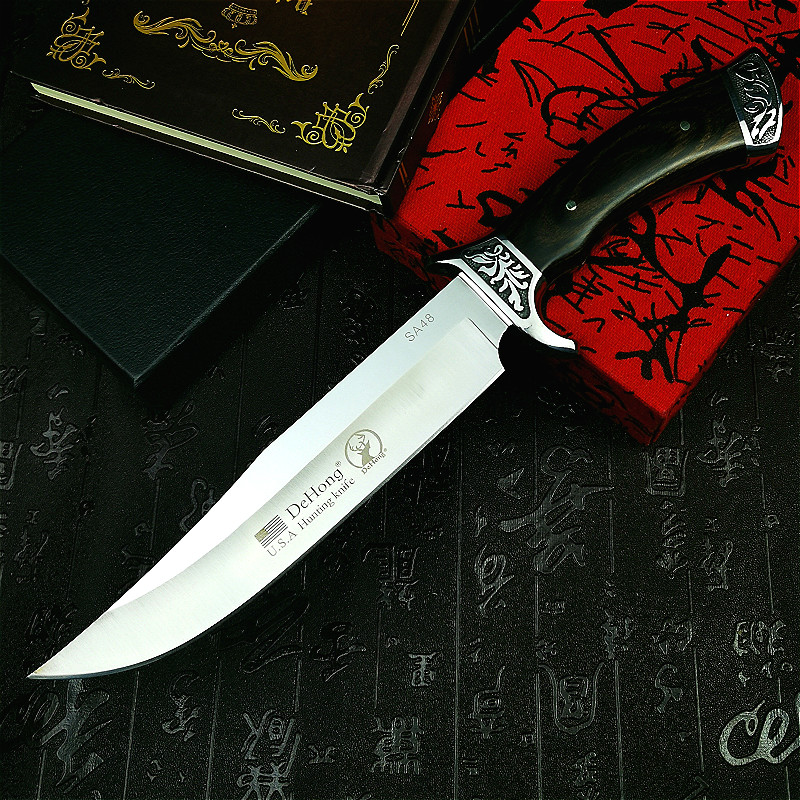 Tools :       DEHONG         U S A  SA48 high-end  hunting straight blade rescue knife camping straight blade Mirror light  tactical knife
