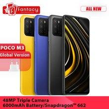 Versão global poco m3 telefone móvel snapdragon 662 64gb 128gb 6.53