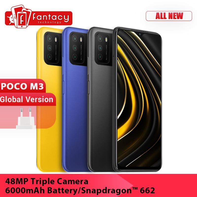"""Versión Global POCO M3 teléfono móvil Snapdragon 662 GB 64GB 128GB 6,53 """"Pantalla 48MP Triple Camera 6000mAh batería Dual"""