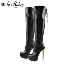 Onlymaker Women's Sexy Platform Zip 16cm High Heel Stiletto Stretch Over The Knee High Boot  plus size US5~US15  women boots