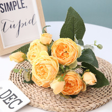 2pcs Artificial Flowers For Decoration Rose Peony Silk Small Bouquet Flores Party Spring Wedding Mariage Fake Flower