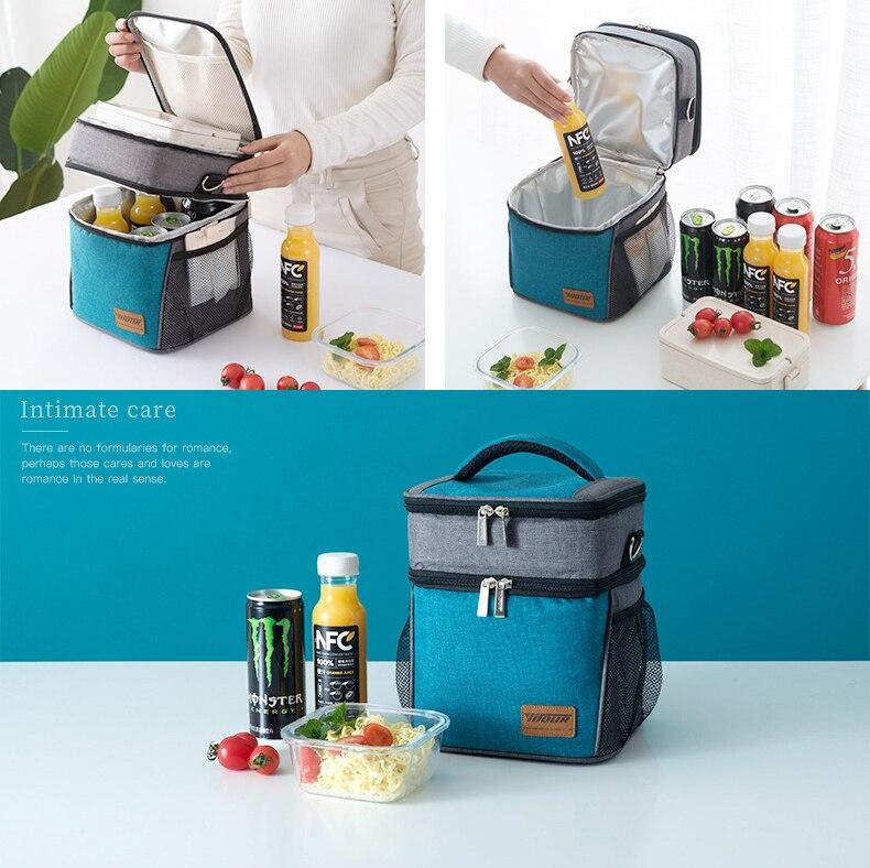 Grande isolation thermique refroidisseur sac à déjeuner pique-nique Bento boîte frais garder glace Pack alimentaire fruits conteneur stockage