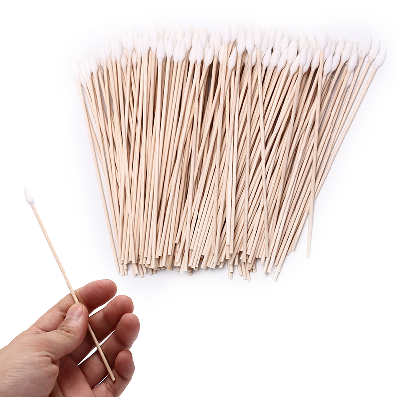 200pcs Wooden Stick Cotton Swab Electronic Product Cleaning Tool Gun Cleaning Cotton Swab 15cm Cleaning Brush