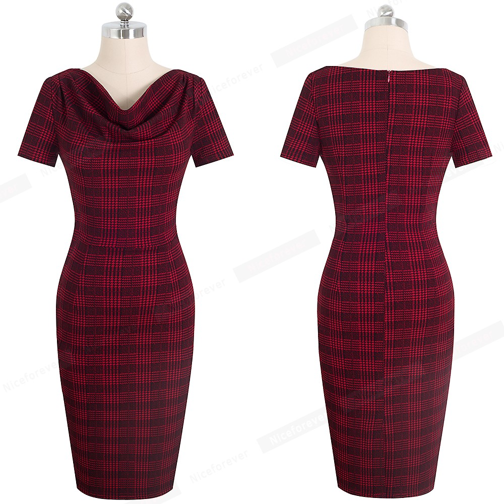 Nice-forever Women Vintage Wear to Work Elegant vestidos Business Party Bodycon Sheath Office Ruffle Female Dress B452 20