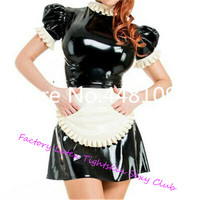 Latex Lolita Laced Dresses with Apron Sexy Cosplay Dress Sexy Maid Costumes sexy halloween costume Custom Made