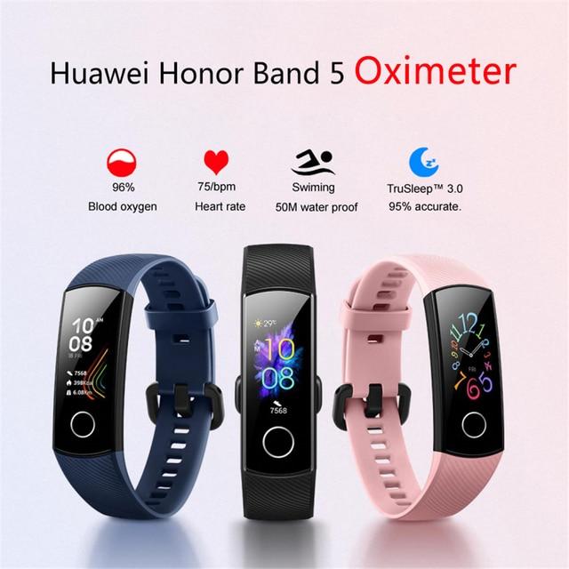Huawei Honor Band 5 inteligentna bransoletka zespół 4 0.95 cala Tracker inteligentny OLED pływanie wodoodporny ekran dotykowy Bluetooth Fitness Tracker
