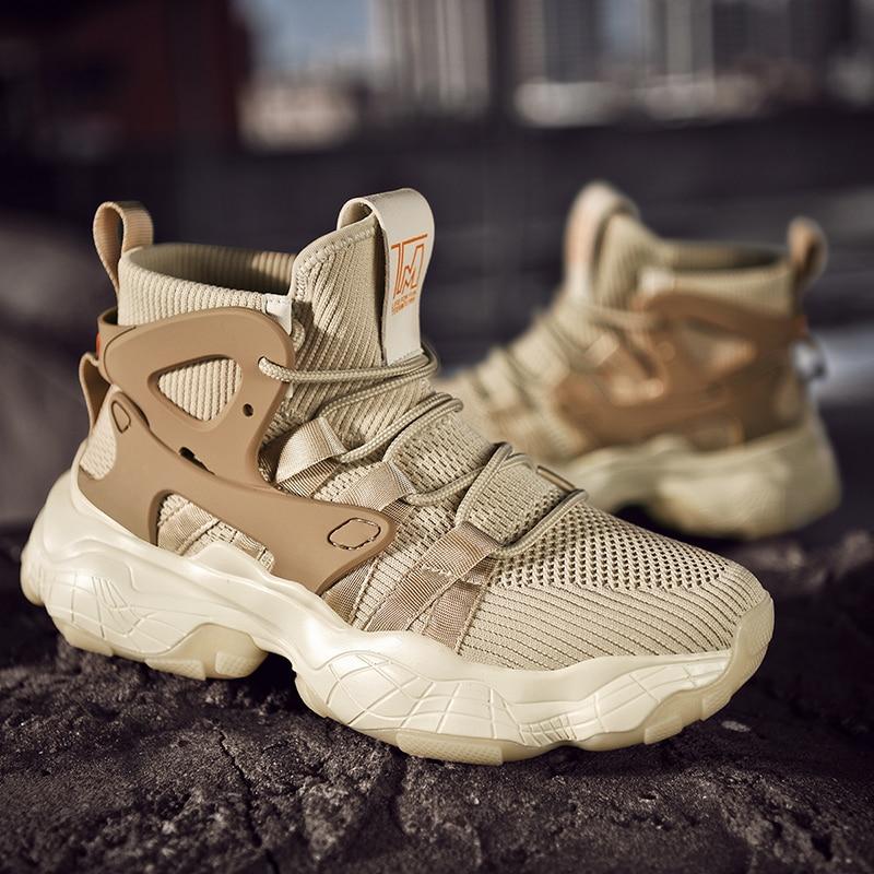 Homme chaussures de sport absorption des chocs chaussures décontractées confortable tendance plein air chaussures fond épais mode tout-match chaussures mode